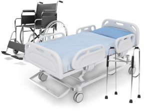 Adjustable hospital bed, wheelchair and walker