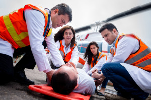 Group of paramedics performing a medical evacuation